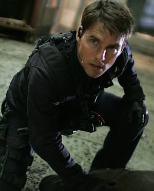"Tom Cruise in voller Action in ""Mission: Impossible III""."