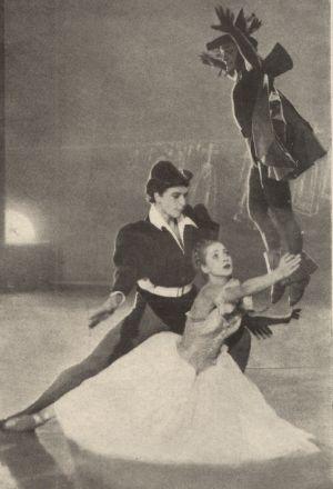 Gretchen (Maria Fries) mit Mephisto (Michel Rayne) und Faust (Rainer Köchermann)