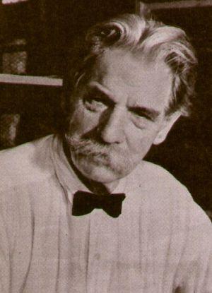 Albert Schweitzer an seinem Arbeitstisch
