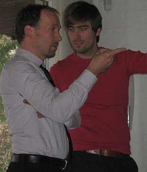 Ulrich Noethen mit Regisseur Alain Gsponer am Set von