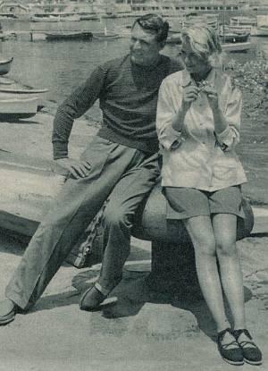 Grace Kelly und Cary Grant genießen den Strand in Nizza.