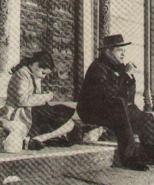 Rita Haworths Tochter Rebecca mit ihrem Vater Orson Welles