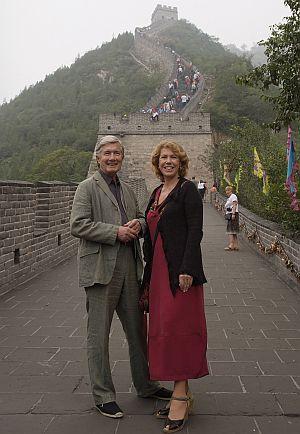 Gaby Dohm und Christian Wolff auf der chinesischen Mauer