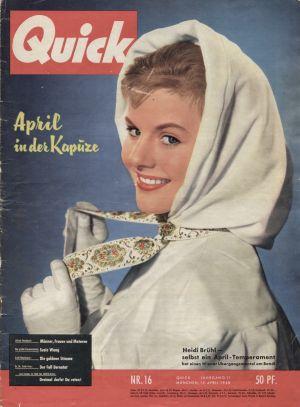 Heidi Brühl auf dem Titelblatt der Aprilausgabe der Zeitschrift Quick 1958.