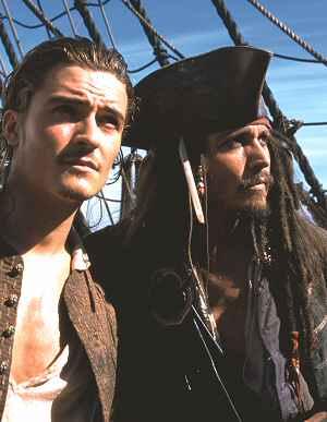 Orlando Blum und Johnny Depp in: Der Fluch der Karibik