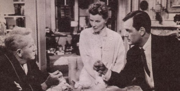 """Spencer Tracy, Katharine Hepburn und Gig Young in """"Eine Frau, die alles weiß"""""""