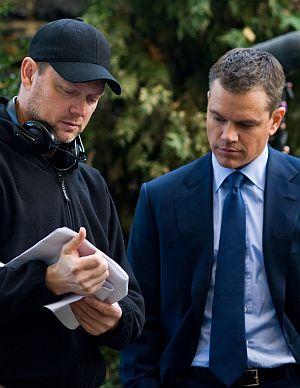 """George Nolfi und Matt Damon am Set von """"Der Plan"""""""