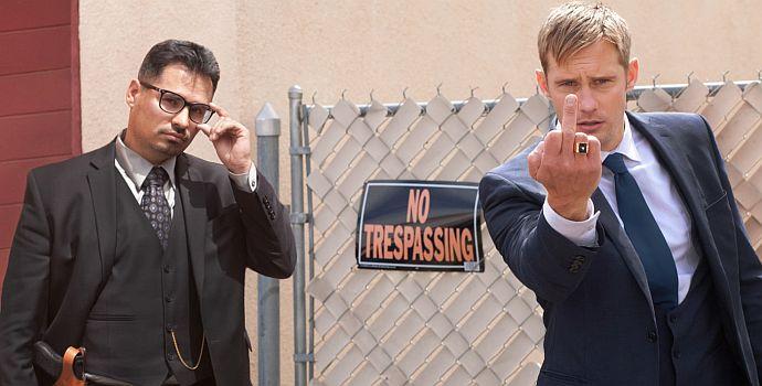 Michael Peña und Alexander Skarsgård (Dirty Cops: War on Everyone)