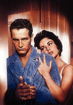 """Elizabeth Taylor mit Paul Newman (""""Die Katze auf dem heißen Blechdach"""")"""