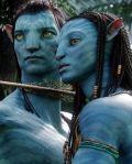 """Zoë Saldaña und Sam Worthington in """"Avatar"""""""
