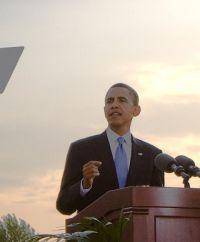 Barack Obama während einer Rede in Berlin im Jahr 2008